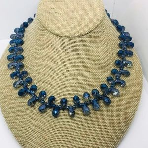 SNO Of Sweeden Blue Faceted Glass Necklace